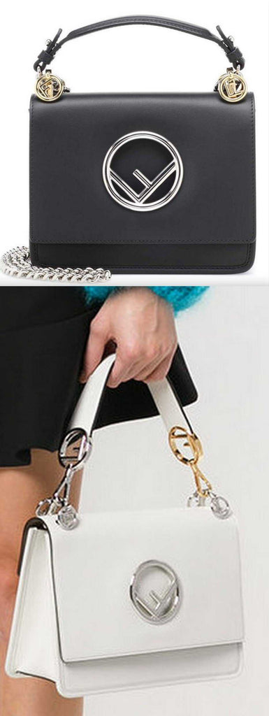 Kan I F Leather Shoulder Bag - Black or White