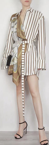 Stripe Scarf Print Wrap Style Shirt-Dress