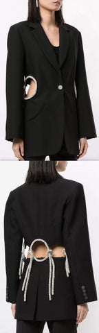 Black Floating Crystal Loophole Blazer