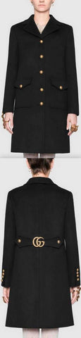 Wool Coat with Double G, Black | DESIGNER INSPIRED FASHIONS