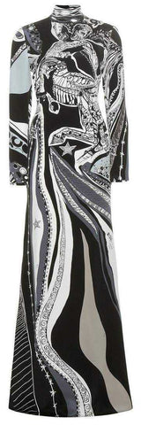 'Sagittarius' Print High-Neck Long Silk Gown | DESIGNER INSPIRED FASHIONS