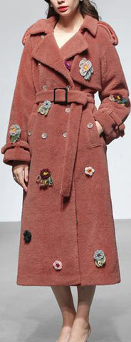 Floral-Appliques Thick Plush Wool Coat