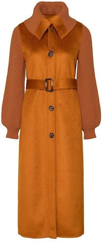 Belted Knit-Paneled Wool Coat, Gold/Caramel
