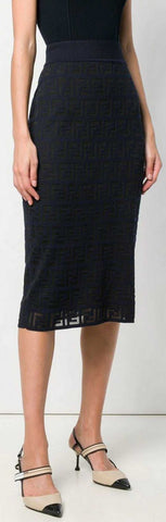 FF Motif Knitted Skirt, Black