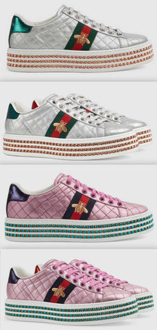 Ace Sneaker with Crystals, Silver or Pink | DESIGNER INSPIRED FASHIONS