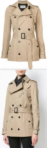 Short Gabardine Trench Coat | DESIGNER INSPIRED FASHIONS