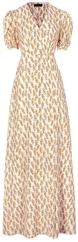 Golden Leaves Printed Maxi Dress