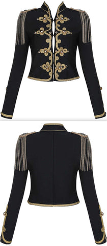 Chain-Tassel Embroidered Military Style Jacket