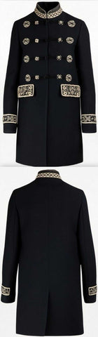 Embroidered Military Style Coat