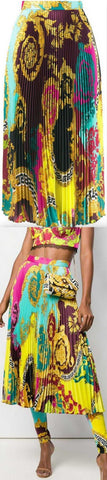 Voyage Barocco Print Pleated Skirt | DESIGNER INSPIRED FASHIONS
