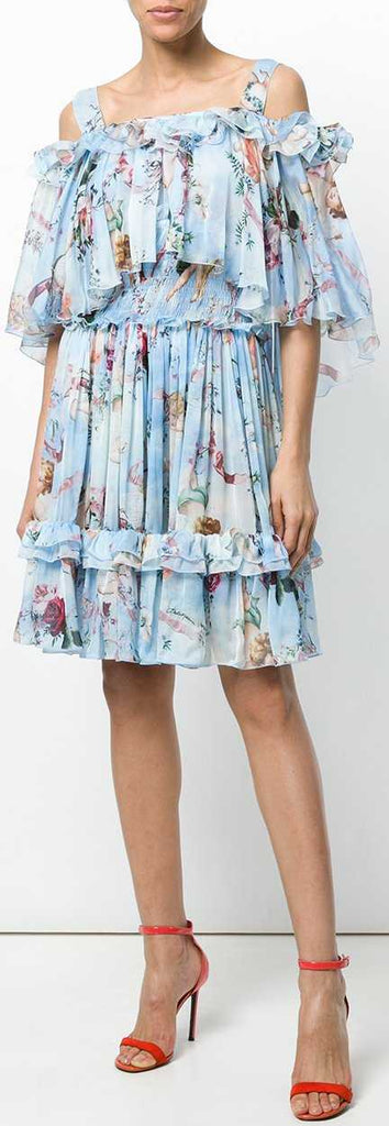 Cupid Print Off-the-Shoulder Dress