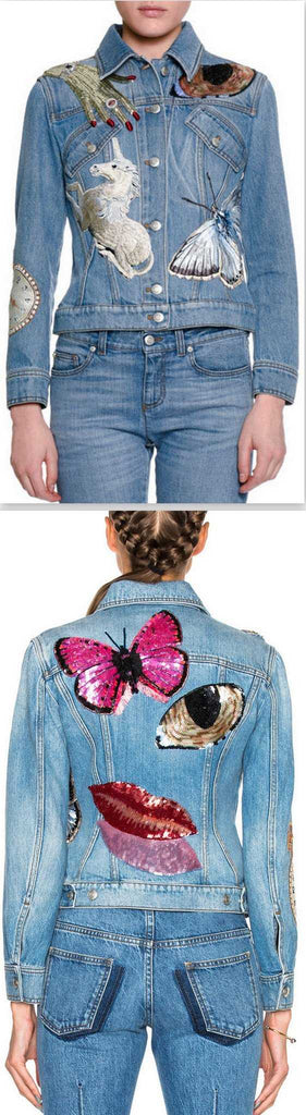 'Bombe' Icon Sequin Embellished Embroidered Denim Jacket - DESIGNER INSPIRED FASHIONS