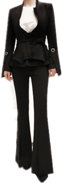 Black Flared Jacket & Pant Set