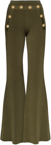 Decorative Button Flared Trousers, Green