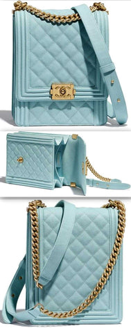 'Boy' Calfskin Handbag, Light Blue | DESIGNER INSPIRED FASHIONS