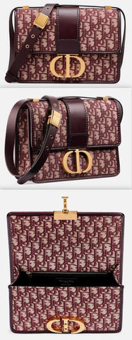 30 Montaigne Flap Bag in Burgundy