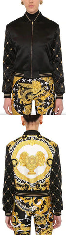 Printed Satin Bomber Jacket | DESIGNER INSPIRED FASHIONS