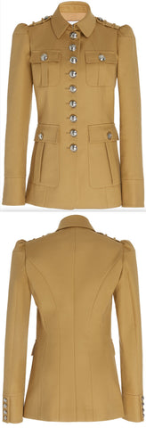 Cotton Twill Military Jacket | DESIGNER INSPIRED FASHIONS