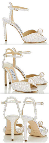 'Sacora' 100 White Satin Sandals with All Over Pearls