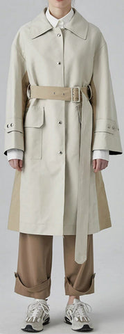 Belted Paneled Single-Breasted Trench Coat