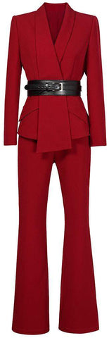 Asymmetric Blazer and Pant Suit, Red