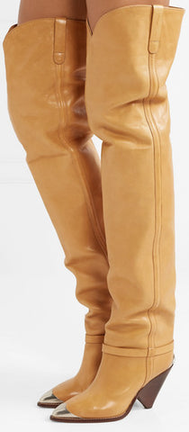 'Lafsten' Embellished Leather Over-the-Knee Boots