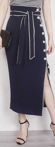 Crystal Button Embellished Skirt - Navy Blue or White