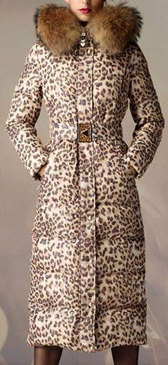 Leopard Print Down Coat with Fur Trim Hood - DESIGNER INSPIRED FASHIONS