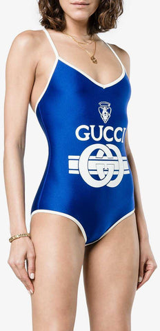 Interlocking Logo-Print Swimsuit, Blue | DESIGNER INSPIRED FASHIONS