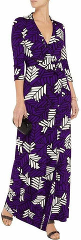 'Abigail' Arrow Feathers Jersey Wrap Dress - DESIGNER INSPIRED FASHIONS
