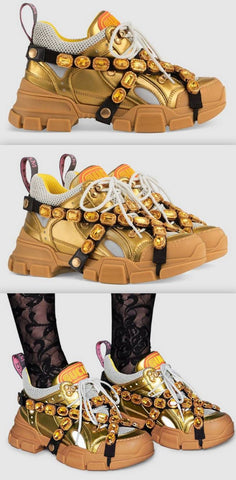 'Flashtrek' Sneakers with Removable Crystals, Gold