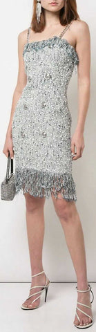 Fringed Tweed Mini Dress