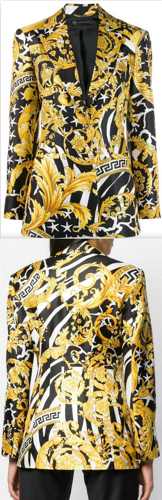 Baroque-Print Single-Breasted Blazer | DESIGNER INSPIRED FASHIONS