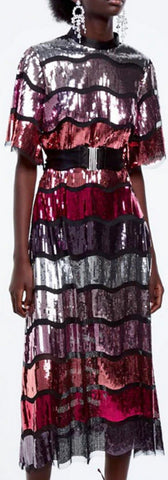 Sequin-Paneled Mesh Dress | DESIGNER INSPIRED FASHIONS