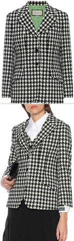 Wool and Cotton Houndstooth Blazer | DESIGNER INSPIRED FASHIONS