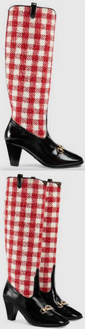 Zumi Check Tweed Knee Boots, Red/White | DESIGNER INSPIRED FASHIONS