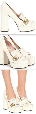 Marmont Leather Platform Pumps, White | DESIGNER INSPIRED FASHIONS