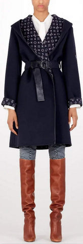 Monogram Inside Hooded Wrap Coat | DESIGNER INSPIRED FASHIONS