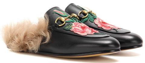 01ad443f0 ... Princetown Leather Fur lined Embroidered Rose Slipper in Black -  DESIGNER INSPIRED FASHIONS ...