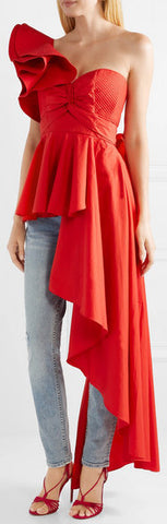 Paso Doble One-Shoulder Ruffled Poplin Top - Red or White