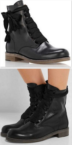 'Harper' Lace-up Leather Ankle Boots - DESIGNER INSPIRED FASHIONS