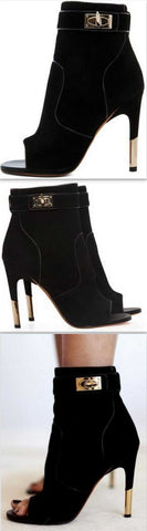 'Dunke' Suede Nappa Shark Lock Bootie - DESIGNER INSPIRED FASHIONS