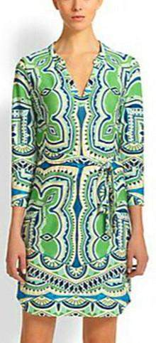 Jersey Silk Tunic Dress in Green - DESIGNER INSPIRED FASHIONS
