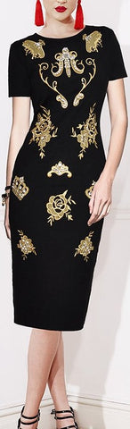 Embroidered Black Midi Fitted Dress | DESIGNER INSPIRED FASHIONS
