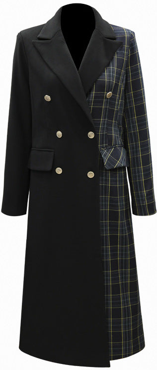 Check-Panel Trench Coat