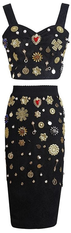 Heavily Embellished Top and Skirt Set | DESIGNER INSPIRED FASHIONS