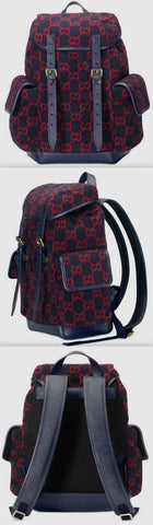 Small GG Wool Backpack, Blue/Red