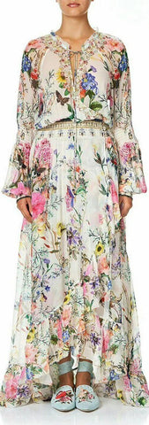 Blouson-Sleeve Printed Long Wrap Dress