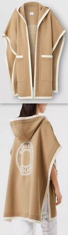 Logo Graphic Wool Cashmere Jacquard Hooded Cape, Archive Beige