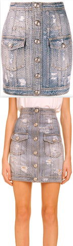 Distressed Crystal Denim Skirt